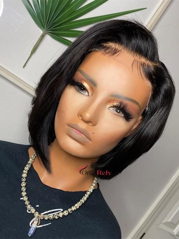 BOB006--brazilian virgin human hair daily side parting bob 5x5 HD wig