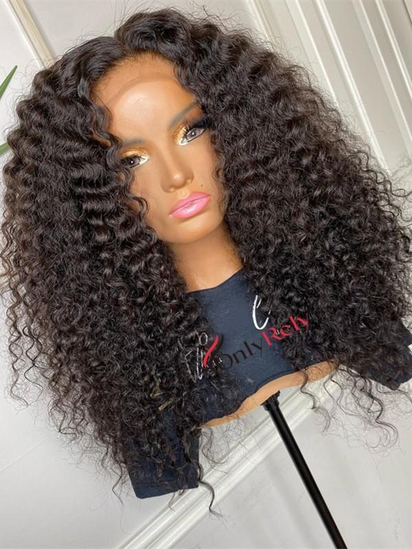 HD040--HD lace brazilian virgin juicy curl 5x5 HD lace closure wig