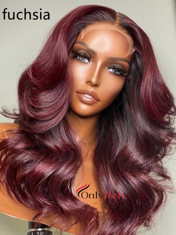 LF111--brazilian virgin human hair colored loose wave 13x6 lace front Wig
