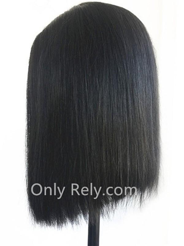 BOB009--Brazilian virgin summer blunt bob Silk Straight 2x4 lace front wig