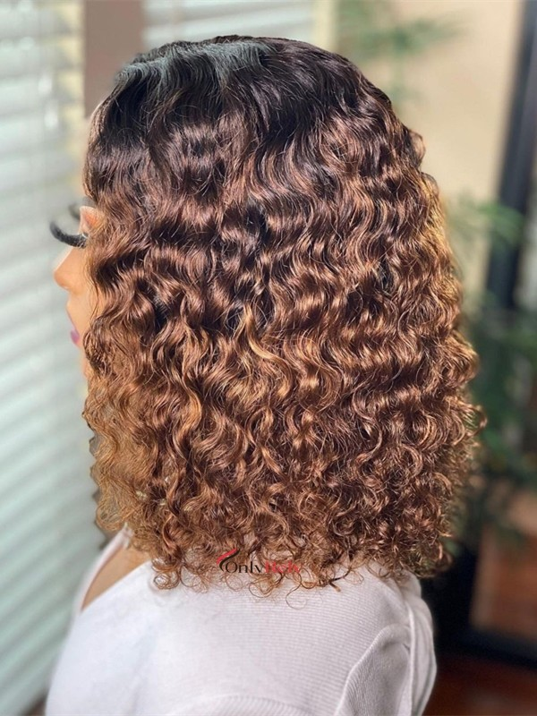 HD011--brazilian virgin human hair ombre bob curly 5x5 HD wig