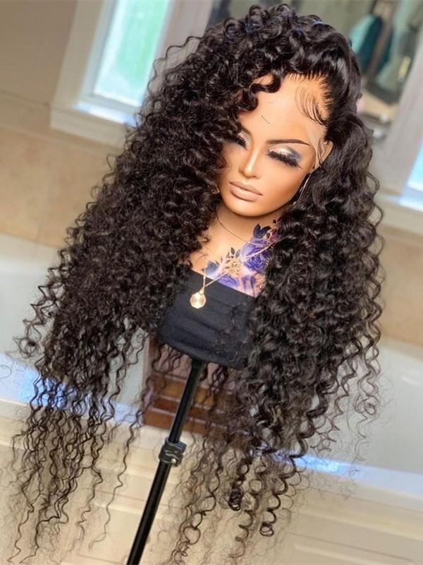 HD017--HD lace tight curly brazilian virgin human hair 13x6 HD lace front wig