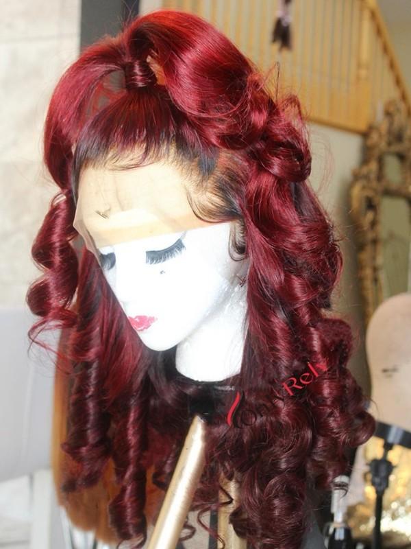 AC089--brazilian vrigin colored beach wave preplucked 360 wig