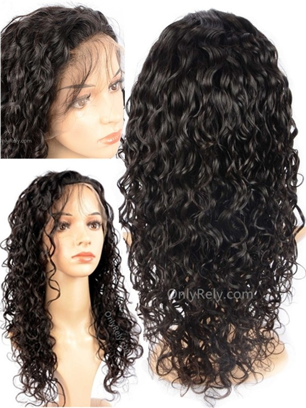AC099--curly wavy Brazilian Virgin bleached knots 360 Wig