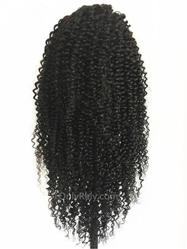 AC066--kinky curly Brazilian Virgin human hair pre-plucked 360 Wig