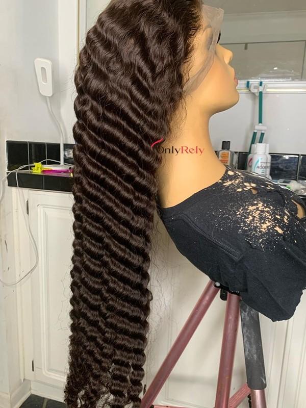LF021--Brazilian Virgin deep wave glueless 13x4 Lace Front Wig