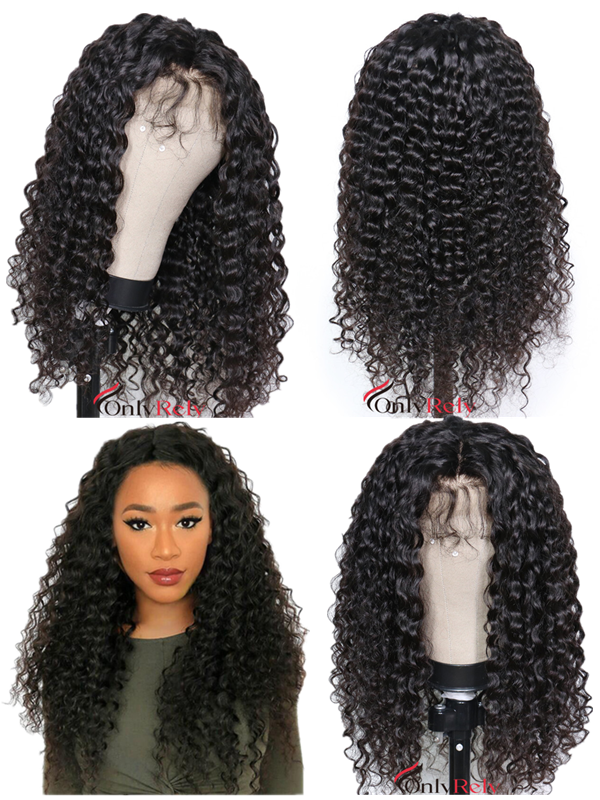 AC220--beach curl Brazilian Virgin human hair Preplucked 360 Wig