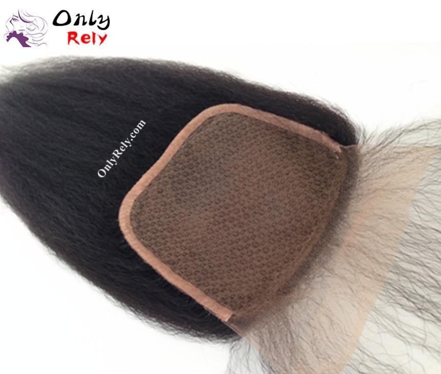 ST103--italian yaki Brazilian virgin hair 4x4 inch silk base top closure