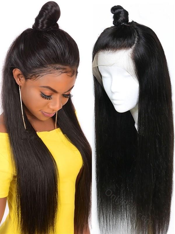 BW069--brazilian virgin silk straight natural color human hair full lace wig