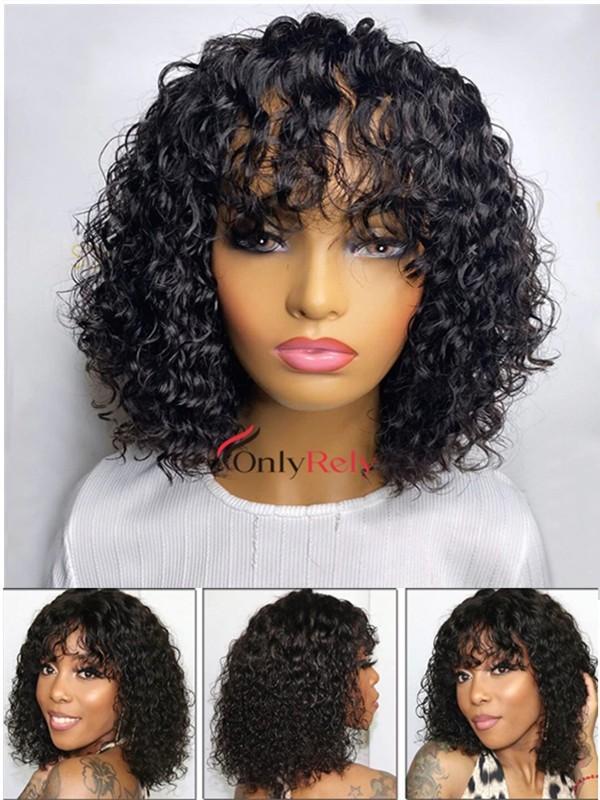 BOB005--deep curly bob with bangs brazilian virgin 360 wig