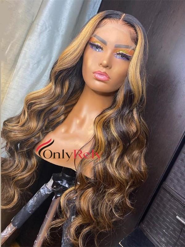 HD123--HD lace highlight brown brazilian virgin human hair 5x5 HD wig