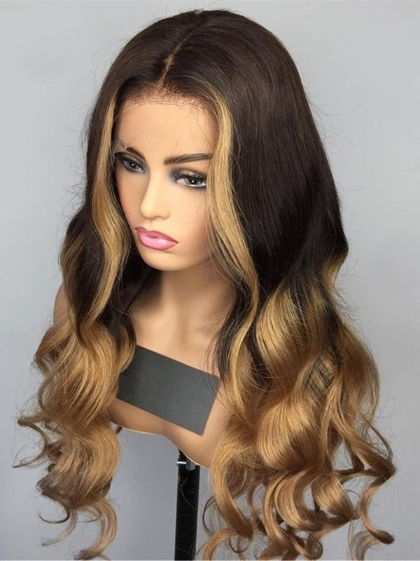 LF099--Brazilian virgin ombre highlight brown loose wave 13x6 lace front wig