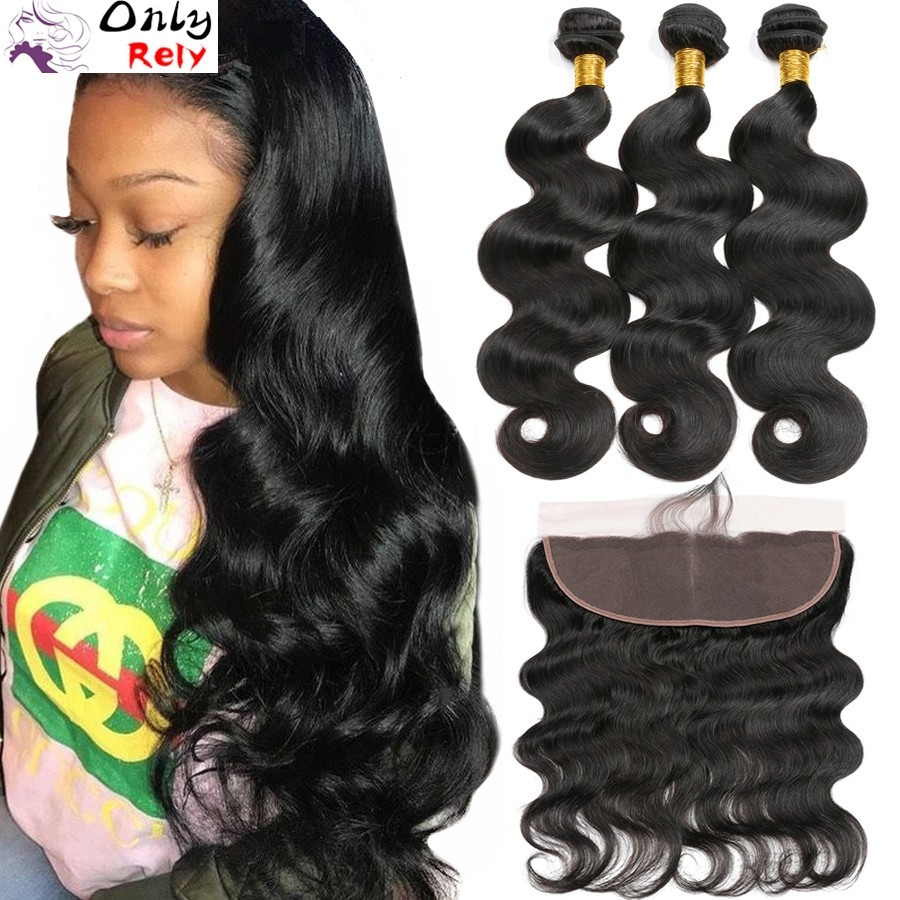 WF304--Brazilian Virgin human hair natural color 3 Wefts and 1 lace frontal