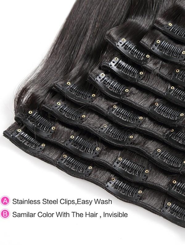 brazilian virgin silk straight Clips-in hair wefts-【CW101】