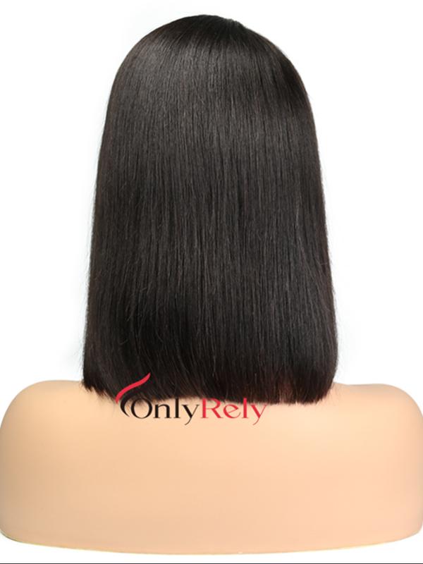 BOB004--brazilian virgin blunt cut straight bob 6 inch lace front wig