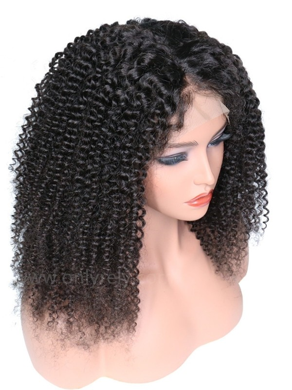LF025--brazilian virgin human hair jerry curly glueless lace front wig