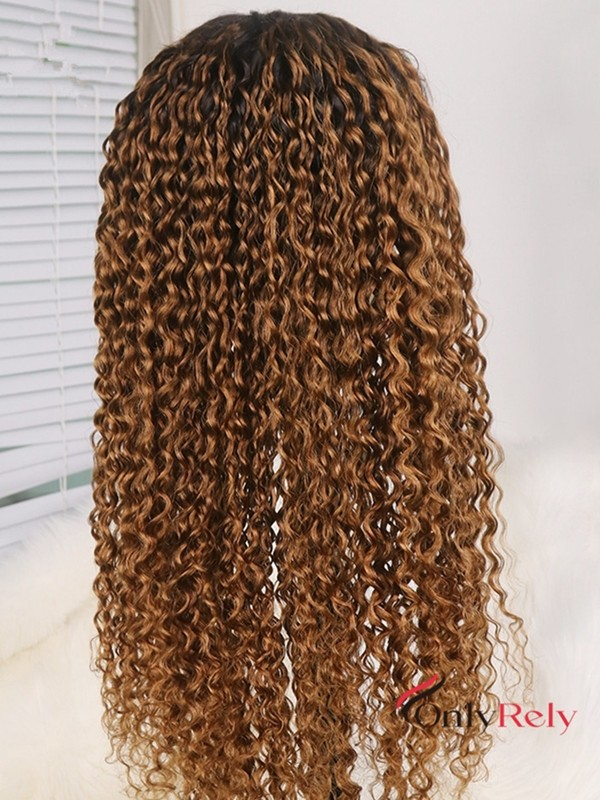 AC333--Brazilian virgin Water Wave dark roots ombre brown preplucled 360 wig