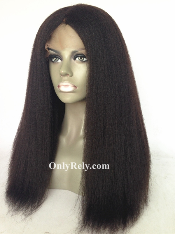 LF080--brazilian virgin Italian yaki glueless13x4 lace front wig