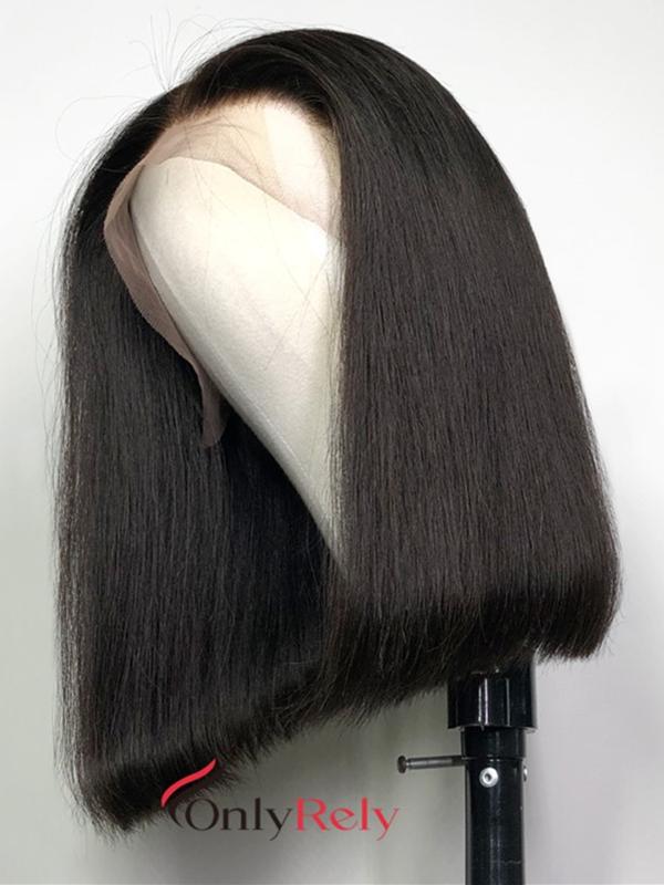 BOB002--brazilian vigin blunt straight with preplucked hairline 360 bob wig