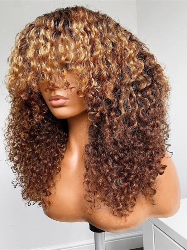 AC568--blonde natural curly with bangs brazilian virgin 360 wig
