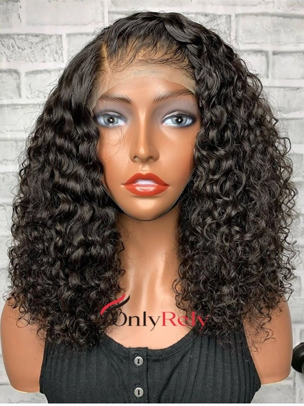 AC082-- wet curly brazilian virgin pre-plucked 360 wig