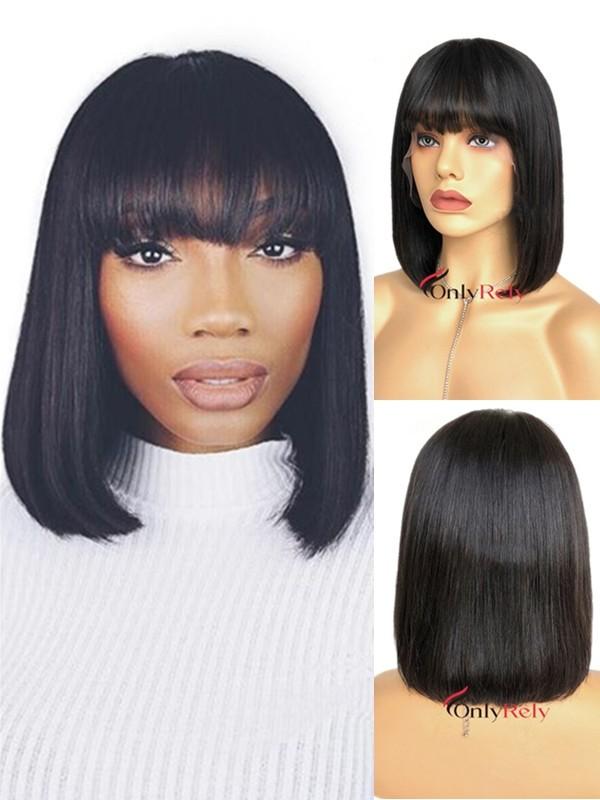 BOB017--blunt cut with bangs brazilian virgin 360 wig