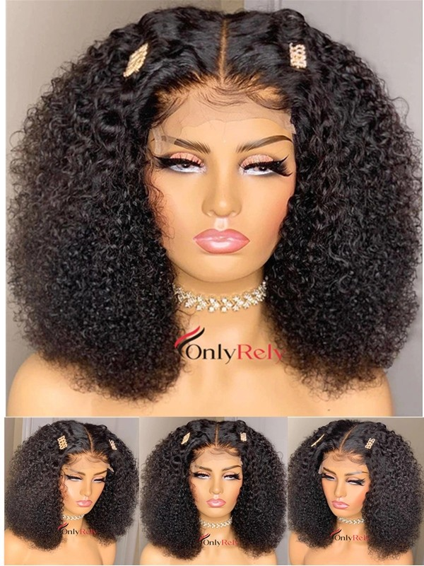 HD013--HD lace 3c curly Brazilian virgin 5x5 HD lace closure wig