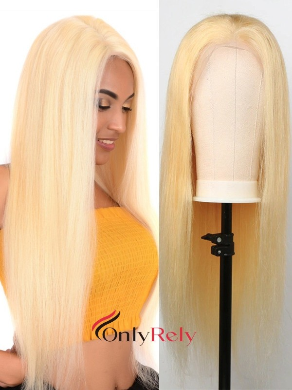 LF613--Brazilian Virgin pre-plucked blonde 613 Color lace front Wig