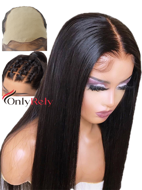 LF333--Pre Plucked Fake Scalp 6 inch deep parting glueless Lace Front Wig