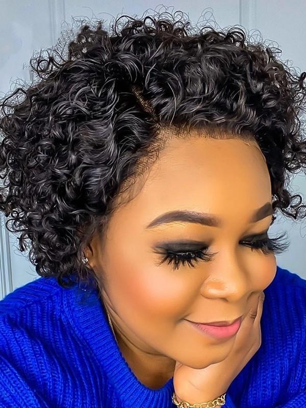 BOB015--8 inch short curly brazilian virgin 13x6 lace front wig