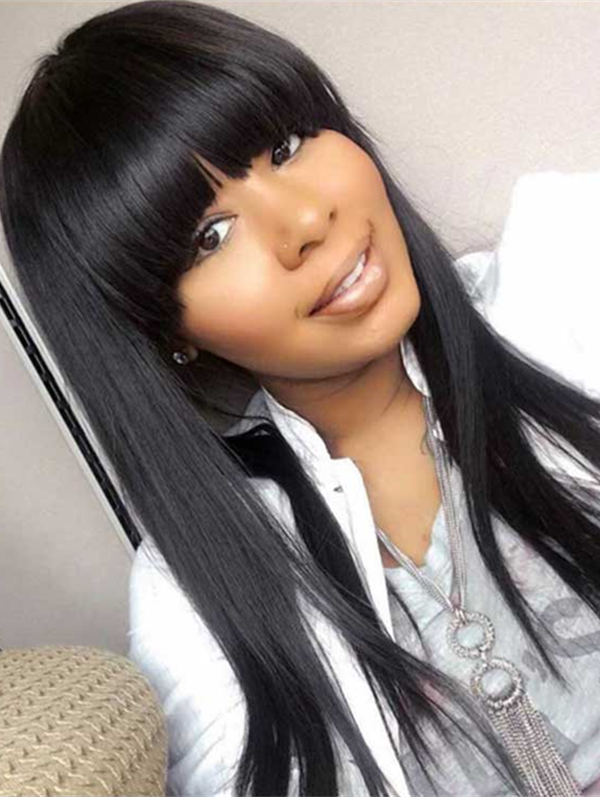 chinese virgin silk straight with bangs human hair full lace wig --【SS888】