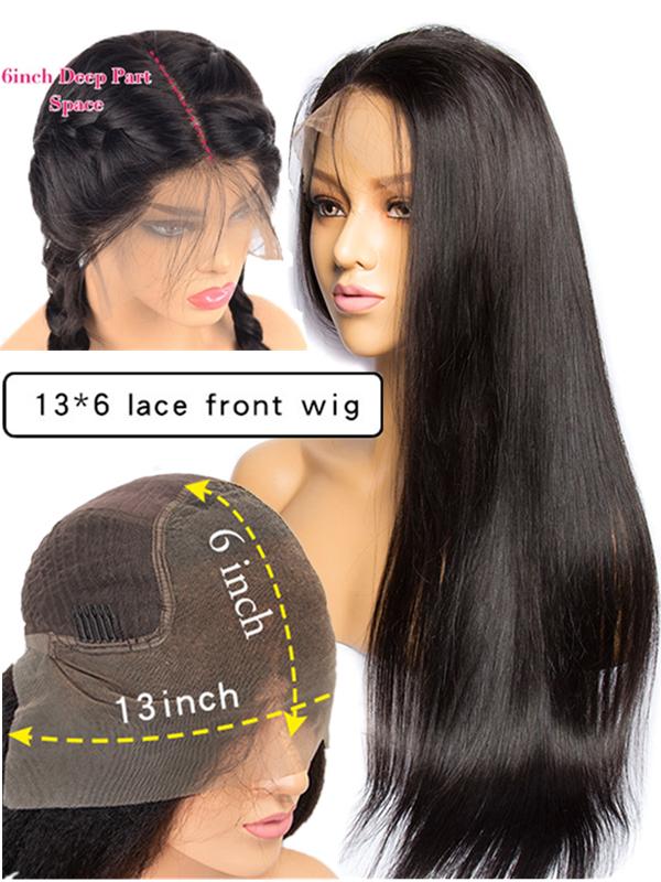 150% density brazilian virgin pre-plucked hairline 6 inch lace front Wig--【LF060】