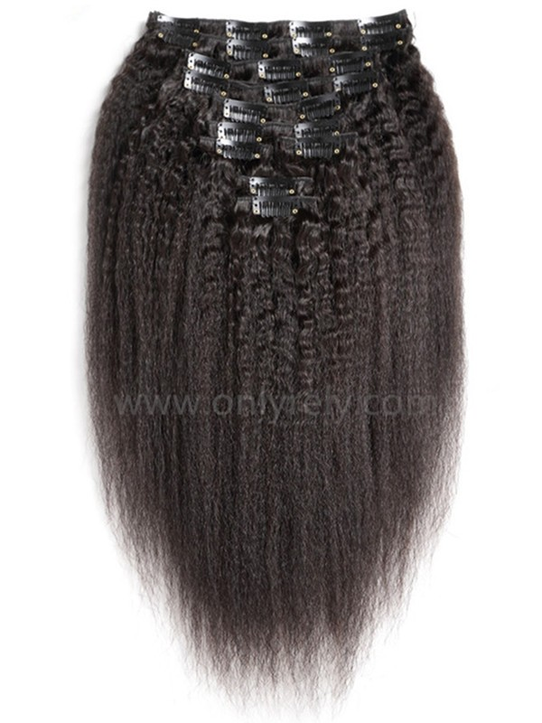 brazilian virgin Italian yaki Clips in hair wefts-【CL102】