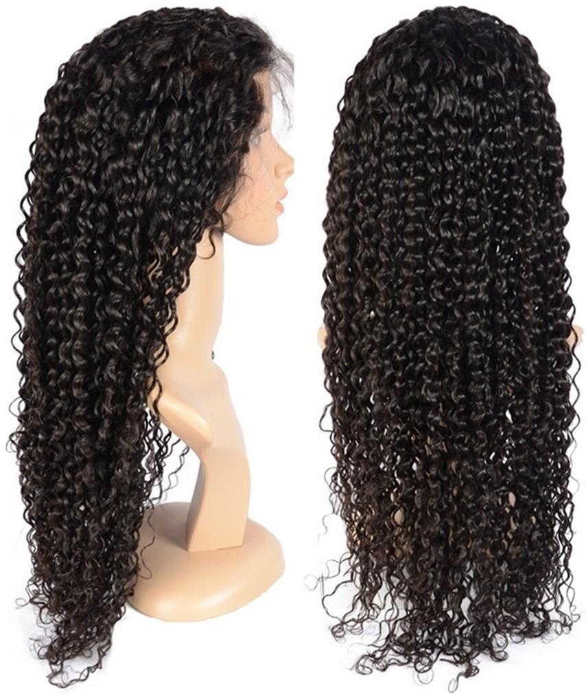 BW070--brazilian virgin human hair preplucked water wave full lace wig