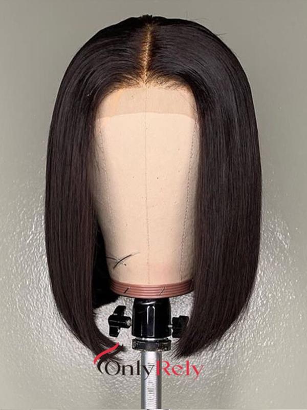 fake scalp brazilian virgin blunt cut straight 6 inch lace front bob wig--【BOB001】