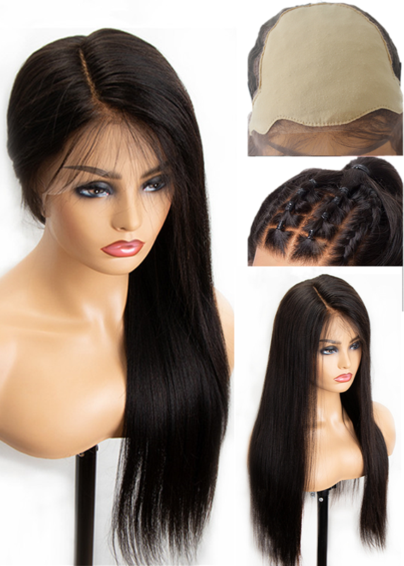 Pre Plucked Fake Scalp 6 inch deep part Lace Front virgin Human Hair Wigs 150% Density --【LF666】