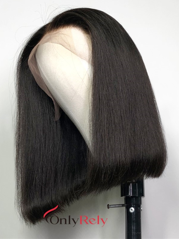 middle parting brazilian virgin glueless 6 inch lace front straight bob wig--【BOB002】