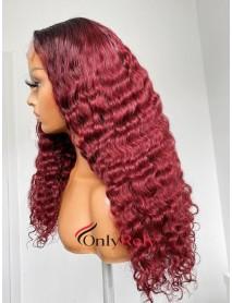 HD099--Brazilian virgin 99j Burgundy water wave 5x5 HD lace closure wig