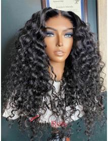 HD040--5x5 HD lace closure wig wet curly brazilian virgin human hair