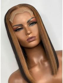 HD077--brazilian virgin highlight blunt cut straight bob 5x5 HD lace closure wig