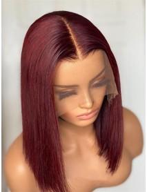 BOB019--brazilian virgin blunt silk straight 99j color 360 wig