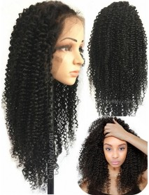 AC066--kinky curly Brazilian Virgin human hair pre-plucked 360 Wig