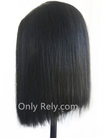 BOB009--Brazilian virgin summer blunt bob Silk Straight 2x4 lace front wig