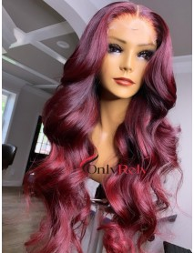 HD054--brazilian virgin burgundy color 5x5 HD lace closure wig