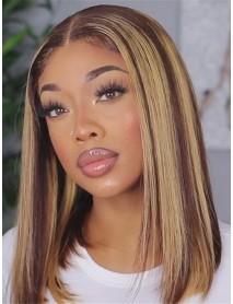 BOB010--brazilian virgin blunt cut silk straight highlight brown 13x6 lace front bob