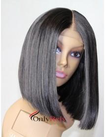 BOB012--Virgin human hair glueless 6 inch lace front bob preplucked hairline