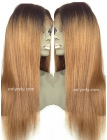 Chinese virgin light yaki ombre color silk top full lace wig--【BW361】