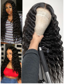 AC055--beyonce wave Brazilian Virgin human hair pre-plucked 360 Wig