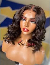 BOB014--ocean curl bob brazilian virgin preplucked 360 wig