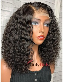 AC010-- wet curly brazilian virgin pre-plucked 370 wig